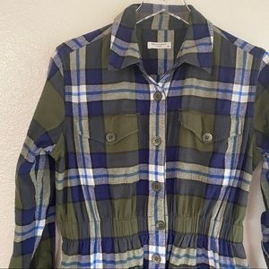 EQUIPMENT monroe cinched flannel shacket SMALL